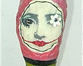 Mixed Media Art Doll Sculpture Fabric-Paper Maché Queen of Heart Polka Dots Crown Whimsical Sculpture Handcrafted BebeTheCircusQueen