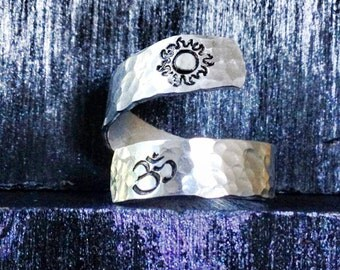 Spiral Ring, personalized ring, engraved ring, peace ring, gypsy ring, yoga ring  SPRALH01