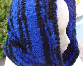 NOW ON SALE   Cowl neck scarf in black and royal blue- ready to ship