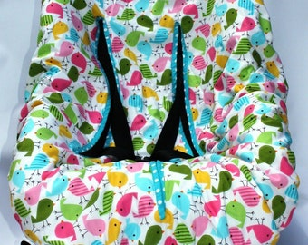 Tweet Tweet Baby Car Seat Cover - available with pink or blue backing