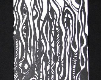 Psychedelic Tribal Art Eye Black Plant Painting Acrylic on Canvas