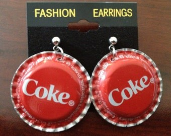 Coke Coca Cola Soda Pop Cap Bottle Cap Earring Jewelry Earing recycled handmade hand flattened bottlecap hypoallergenic