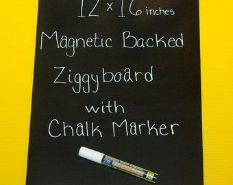 Magnetic Backed Kitchen or Office Ziggyboard Chalkboard with chalk marker 12x16