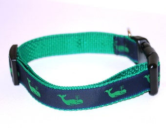 "Preppy Whale Dog Collar- 1"" Wide"