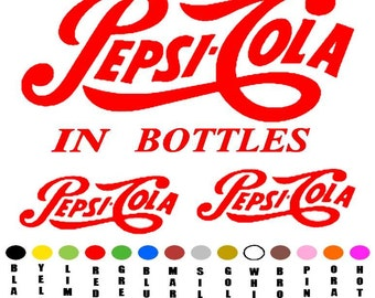 Drink Pepsi-Cola in bottles sticker decal  choose your color