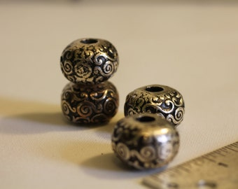 Etched Antique Silver Bead, large hole, metalized plastic