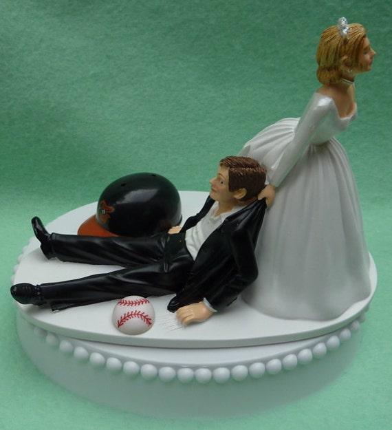 wedding cake topper baltimore orioles os baseball themed w. Black Bedroom Furniture Sets. Home Design Ideas