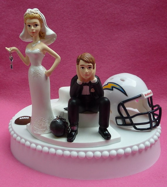 wedding cake topper san diego chargers sd football themed ball and