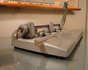 Vintage Industrial Metal 3 Hole Punch, Foothill 310 - Adjustable