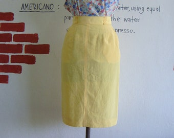 Vintage yellow High waist Pencil skirt sale 10 usd XS S