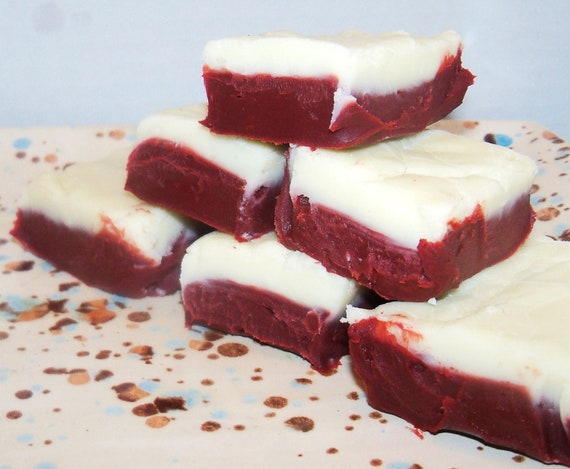 Items similar to Red Velvet Cake with Cream Cheese Frosting Fudge Half ...