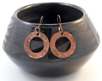 Hammered Copper Disk Ring Earrings