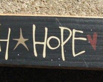 Primitive Country 82143FHL  Faith Hope Love Shelf Sitter Wooden  Sign