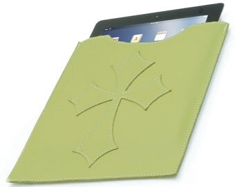 Leather iPad Cover - Green Flared Cross