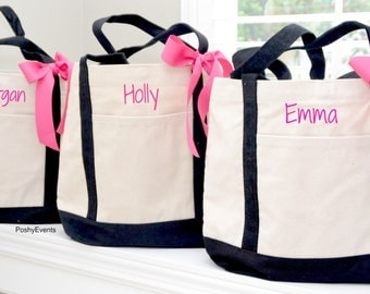 Set of 5 Personalized Wedding Bridesmaids Tote Gifts  in Black or Navy