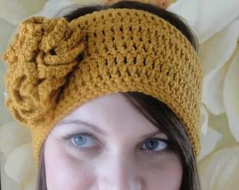 Headband CROCHET PATTERN Women pdf Hat with Flower The ANGELA
