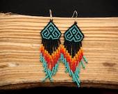 Medusa beaded earrings - Traditional mexican huichol design