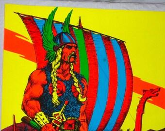 Vintage 1970 Houston BlackLight Poster Co THE VIKING HB82 Psychedelic Black Light