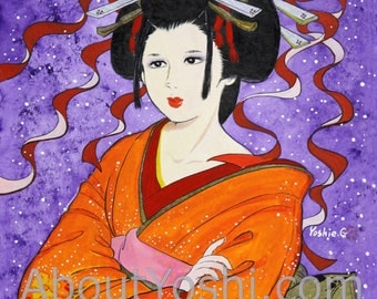 "Japanese Art -  Geisha ""Lost in Thought""  11 x 14 watercolor on cotton paper."