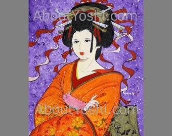 "Japanese Art -  Geisha ""Lost in Thought""  11x14 watercolor on canvas."