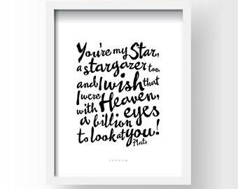 Printable Quote, Inspirational Typography Art, Download And Print JPEG Image - Stargazer