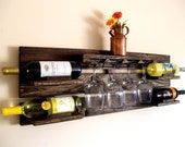 Reclaimed Wood Wine Rack - Pallet Wood Wine Rack - Dark Walnut, Brown or Natural (no color) Wine Shelf Eco Friendly - TheVineyards