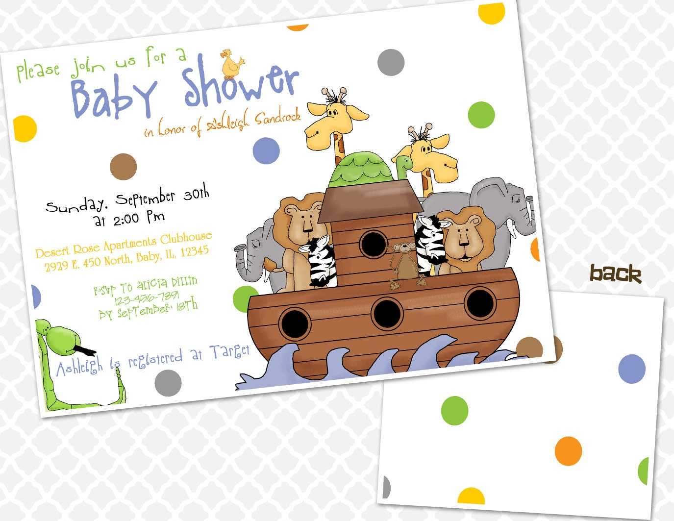 Noah39;s Ark Baby Shower Invitation Animals Baby Shower