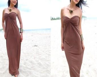 Dark Brown Strapless  Beach evening long maxi Sun dress All size