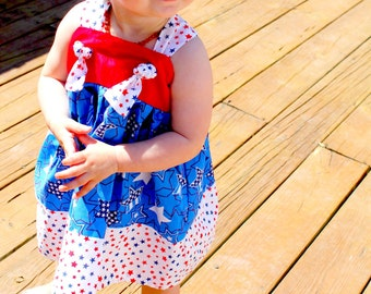 Patriotic Red White and Blue Dress--READY TO SHIP Size 2T.