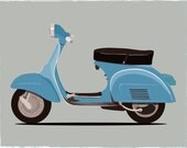 Vespa Blue Color scooter print, bike print, inspirational wall decor, motivational art, retro