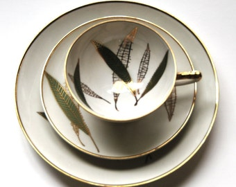 Dessert Set Winterling Bavaria Rosslau Bamboo Leaf with Gold Accent