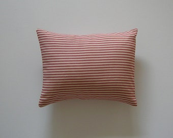 Ticking Striped 12x16 Pillow Cover Red Stripes On Cream Background