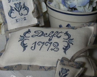Chart DELFT 1772 with tutorial to make a set-embroidery - Paper or PDF format