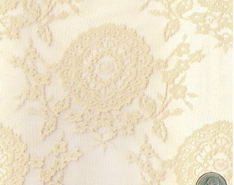 Oasis Floral Vintage Lace Fabric Tan by the Yard, Wedding Lace Fabric, Bridal Lace Fabric - 1 Yard Style 105