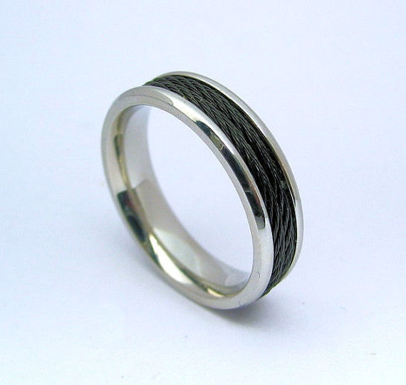 Mens Wedding Band Ring Stainless Steel 316L Black Cable 6mm