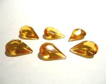 Vintage Glass Teardrop Light Topaz Brown colour Non foiled stone approx 14mm x 9mm transparent glass jewels- 6 pieces