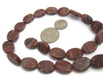 Red Sesame Jasper Oval Beads