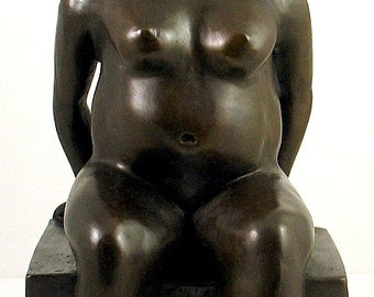 Hommage to Botero Sitting Woman Great Bronze Sculpture