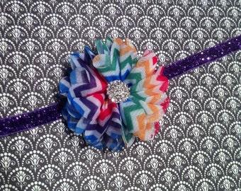 Rainbow Baby Chevron Headband - Baby Headband - Purple Glitter - Rhinestone Headband - Chiffon Flower Headband