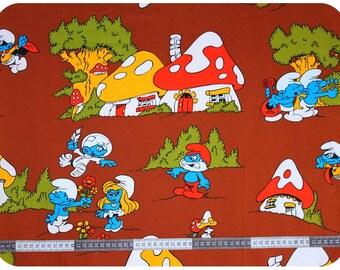 Retro vintage children's smurf fabric NOS / New Old Stock - brown