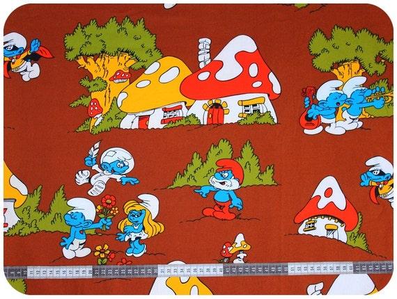 Retro vintage children 39 s smurf fabric nos new old stock for Retro kids fabric