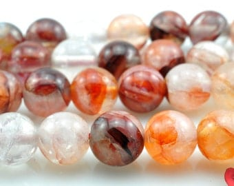 47 pcs of  Natural Red Quartz, crystal smooth round beads in 8mm