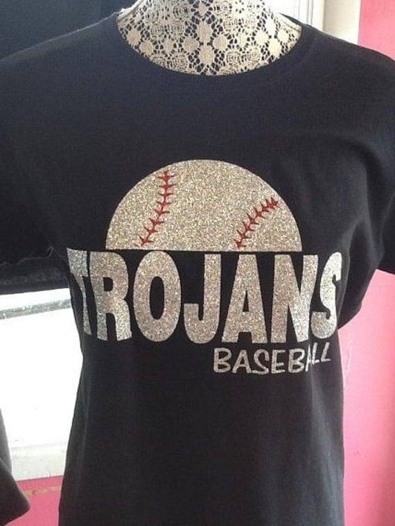 Custom baseball spirit glitter fitted t shirt for Custom baseball tee shirts