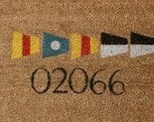 Custom Hand Painted Nautical Signal Flag Doormat-YOUR ZIP CODE