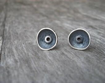 Sterling silver artisan saucer post earrings