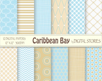 Blue Beige Digital Paper Pack-Dots Chevron Stripes Diagonal -Caribbean Bay - Instant Download