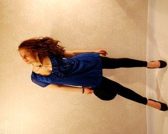 Cobalt Woman Blouse /  Maternity Blouse / Cobalt Blue / Summer / X Large