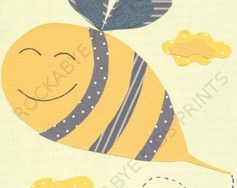 Bumble Bee Nursery Art Print, 8x10, kids room, yellow, grey