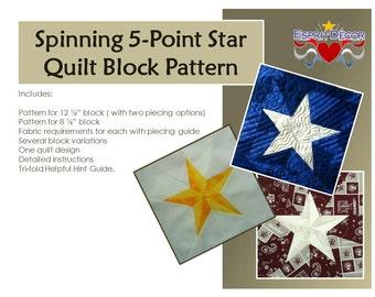 Pattern: Spinning 5-Point Star Quilt Block