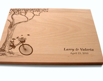 Custom Cutting Board with Tree and Bike Lovers Couple's Anniversary Gift Wedding Present Bridal Shower Gift